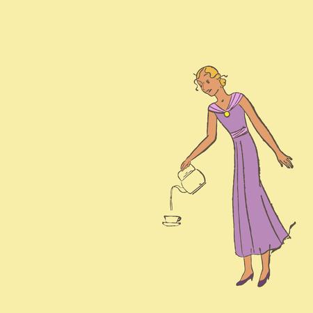 abito elegante: Donna in abito elegante versa il caff� in una tazza illustrazione Retro Vettoriali