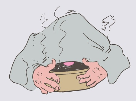 sinusitis: Cold man laid a towel breathes steam to recover