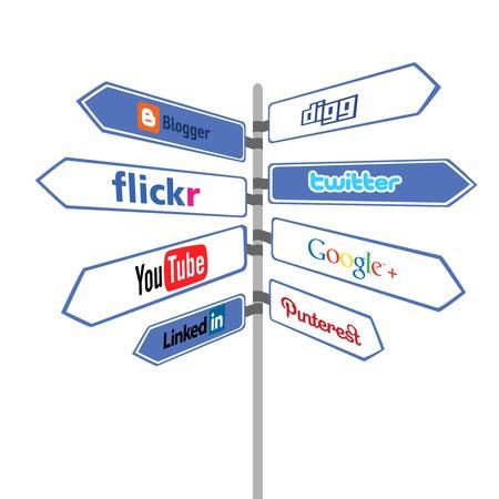 social communication: Road sign social networks. modern simbol of communication