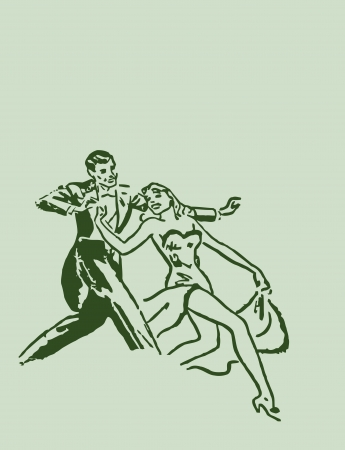 Dancing ballroom dance couple  Man and Girl  Retro stile Illustration