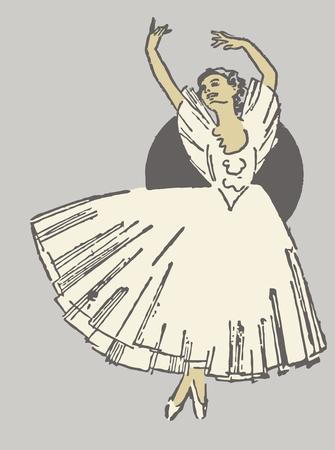 tiptoe: A dancing ballerina in white dress on tiptoe