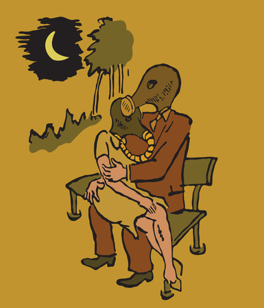 gas man: man and woman sitting on a bench in gas masks