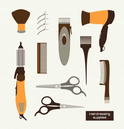 comb hair: Hairdressing supplies set of Stock Vector Illustracion