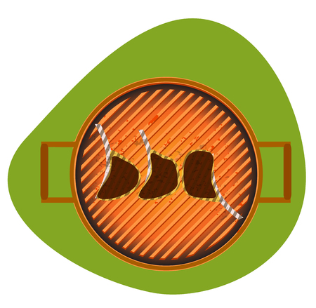 deflated: BBQ grill vector illustration cutlets stylized letters