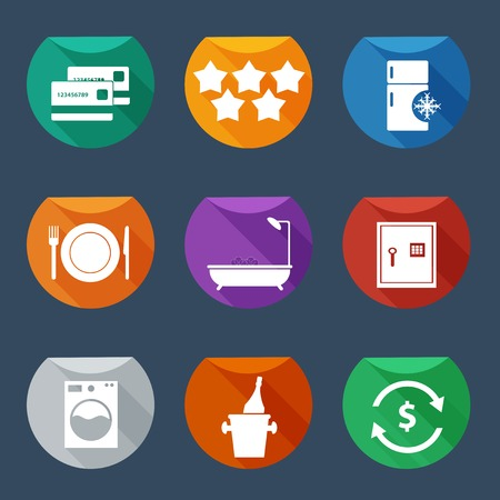 Hotel services icons set Vector