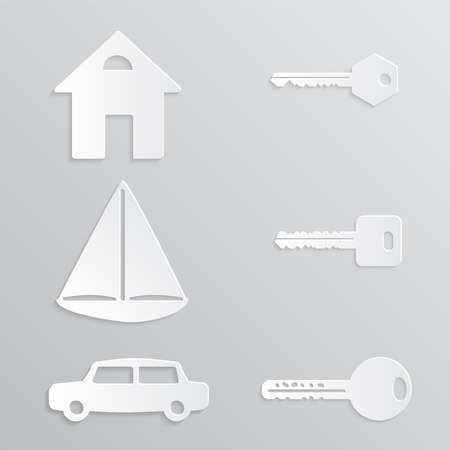 House Yacht Car Key Paper-cut Cut Out Vector