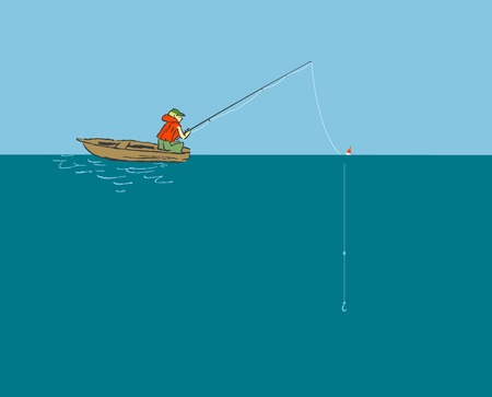 Fisherman sitting in the boat with a fishing rod Illustration