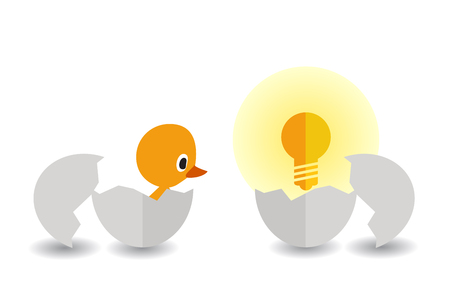 hatched: hatched chick and light bulb Illustration