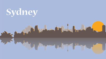 sydney skyline: Sydney skyline at sunrise. Vector Flat stock illustration Illustration