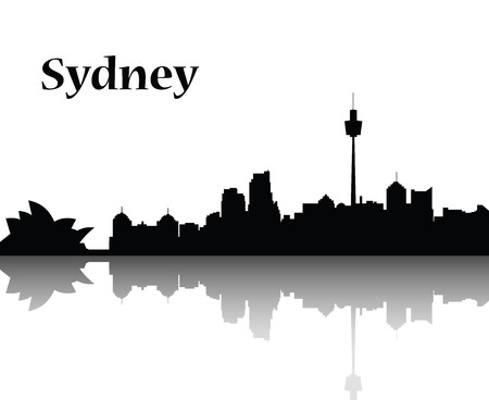 Sydney city skyline  vector flat designe monocrom Illustration