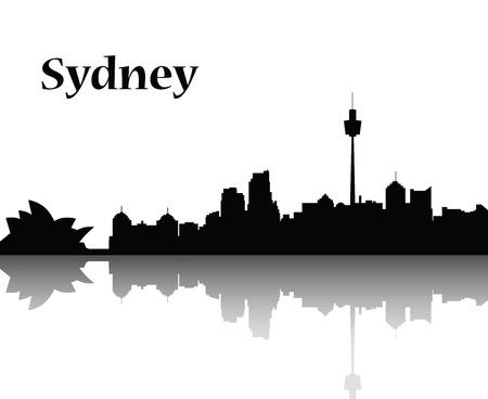 sydney opera house: Sydney city skyline  vector flat designe monocrom Illustration