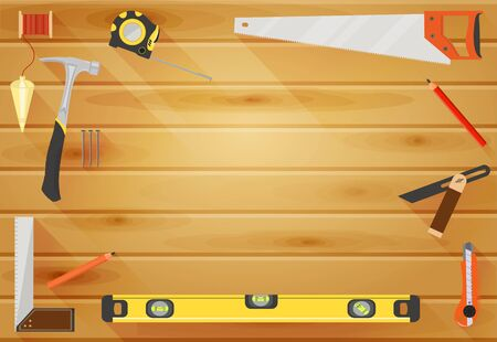 Vector Carpenter or construction background with tools like hammer, saw, angel, level and measuring tape, wooden plank with space for text in center