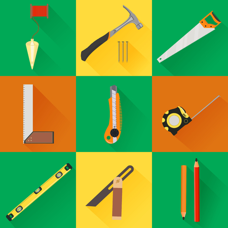 plumb: Vector Carpenter set of icons of construction Tool. flat icons with tools like hammer, saw, angel, level and measuring tape Illustration