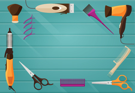 hair beauty: Vector illustration of flat background with Tools for Hairdressing salon or Barbershop such as comb, hairclipper, hairdryer, scissors
