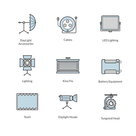studio lighting: Set of Icons of studio lighting and accessories for professional photographers, vector line stile Illustration
