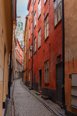 The narrow streets of the old town of Stockholm. City center