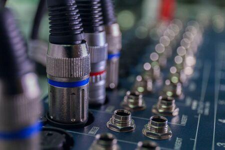 selective focus sound mixer close up cables macro. stock photo