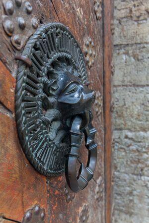 gold en: Lion Head Knocker, Ancient bronze handles on old oak door