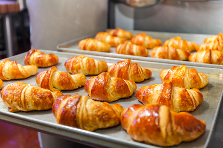 Fresh baked croissants on baking sheet. Stock photo
