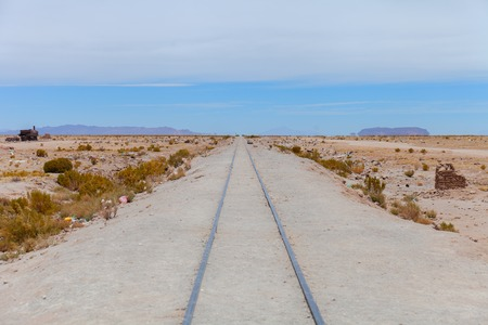 Cemetery of the trains in the desert of the Andes, view of a railroad track Stock Photo