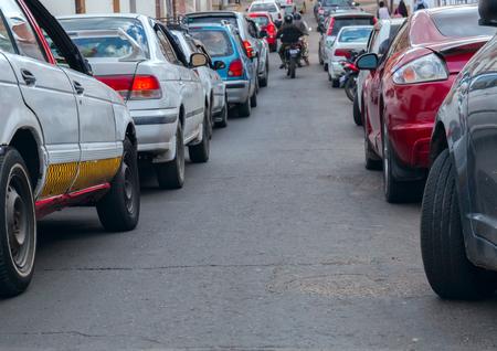 verkeer. Een vergrote weergave van auto's. Het gaat een manier tussen voorraadfoto Stockfoto