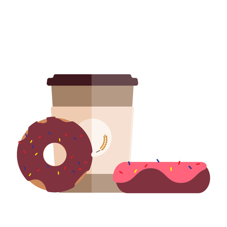 Fresh coffee cup and delicious donuts. Flat design