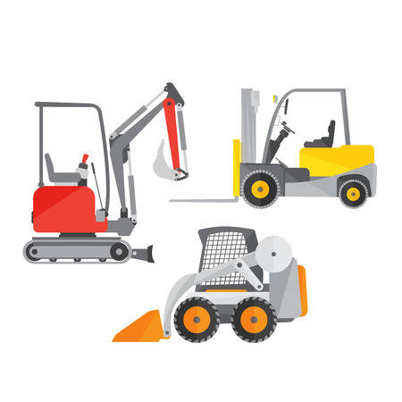 Schematic illustration of two mini tractors or excavators and one mini forklift truck