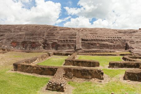 Traces and remnants of an ancient civilization. Archaeological site of El Fuerte de Samaipata, Bolivia. Stock photo