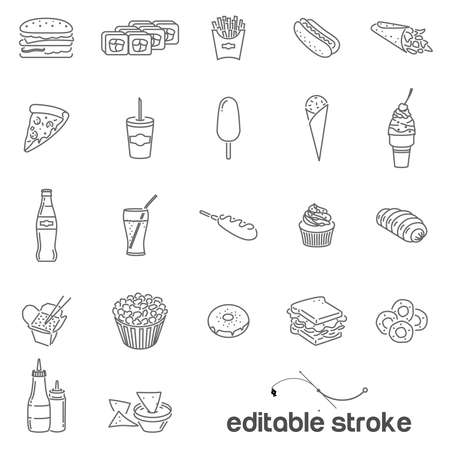Icons on the theme of fast food and wrong food. Ice cream,rolls,cheeseburgers and burgers, sauces with French fries, soda, Nachos chips,cupcakes and Wok noodles. Ilustração