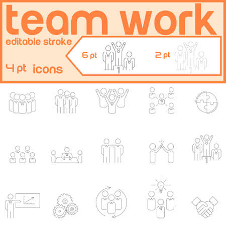 Vector icons on the theme teamwork. Friendship and partnership, brainstorming, colleagues.  イラスト・ベクター素材