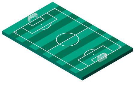 Football field isometric vector illustration. Active ball games. Championship, horizontal bar. Sport. Vektoros illusztráció
