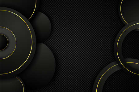 Elegant geometric shapes in the form of Golden circles on a black background. Realistic background