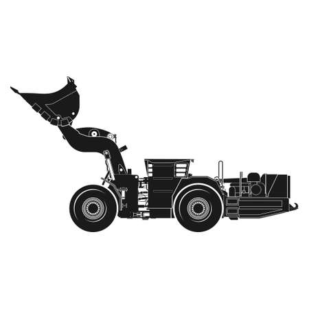 Realistic icon of a loading and delivery vehicle in a mine and quarry. Loader with a raised bucket. Vector.