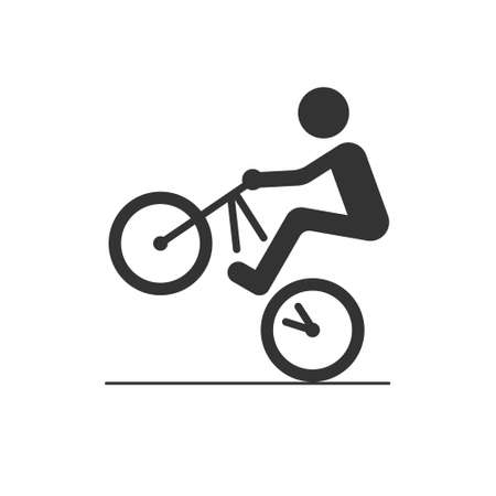 Icon of the cyclist. Riding on the back wheel