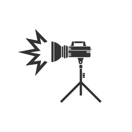 The studio flash icon icon on the tripod. Pulsed light for professional use by photographers