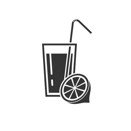 Icon of a soft drink in a glass with a lemon and a straw. Alcoholic and non-alcoholic beverages.