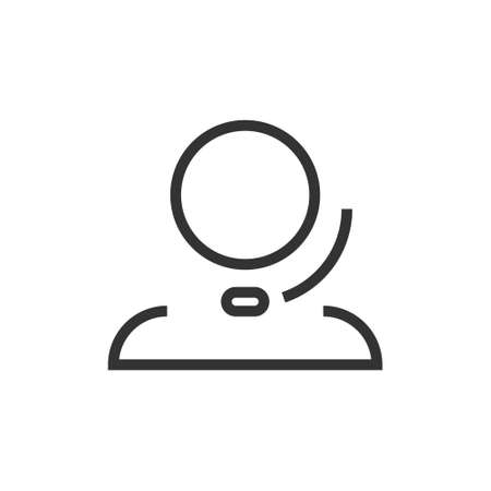 Icon of a person with a headset. Support service, hotline, and frequently Asked questions.