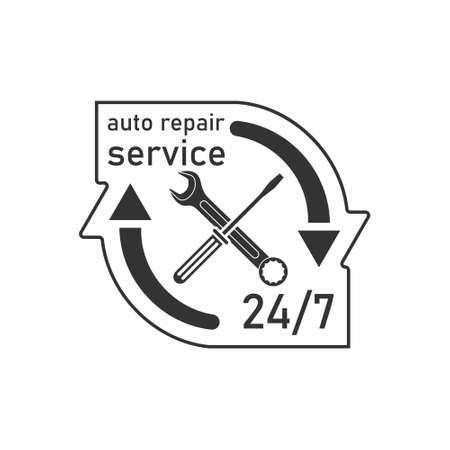 The icon is an emblem of a wrench and screwdriver with arrows with the signature service 24 7. Car service.