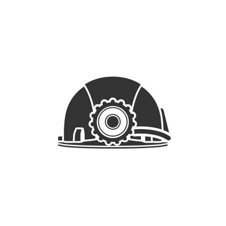 Realistic vector icon of a miners helmet with a lantern. Protective helmet to protect your head. Personal protective equipment