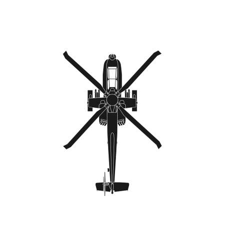 Realistic vector icon military attack helicopter military air forces of the United States. Apache. Top view
