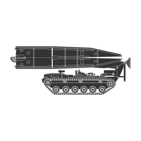 Realistic vector icon of the bridge paver on the chassis of the M-60 tank. Joint assault bridge. Military equipment