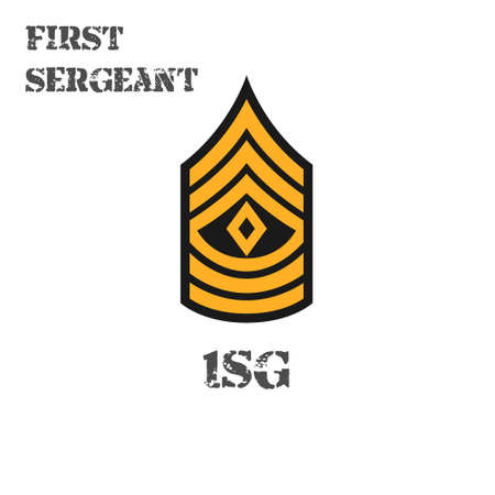 Realistic vector icon of the chevron first sergeant of the US Army. Description and abbreviated name