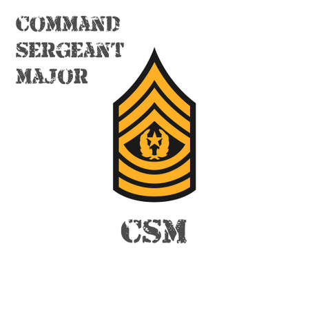 Realistic vector icon of the chevron of the command sergeant major of the US Army. Description and abbreviated name
