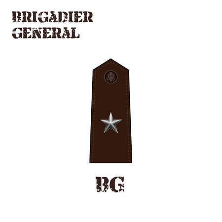 Realistic vector icon of the chevron of the Brigadier general of the US Army. Description and abbreviated name