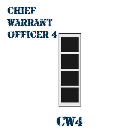 Realistic vector icon of the chevron of the Chief warrant officer 4 of the US Army. Description and abbreviated name