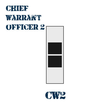 Realistic vector icon of the chevron of the Chief warrant officer 2 of the US Army. Description and abbreviated name