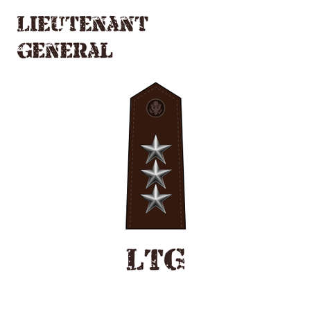 Realistic vector icon of the chevron of the Lieutenant general of the US Army. Description and abbreviated name