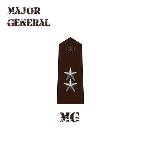 Realistic vector icon of the chevron of the Major general of the US Army. Description and abbreviated name