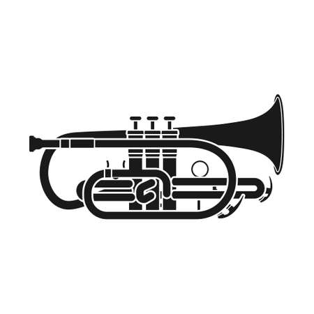 Vector silhouette of the musical instrument cornet. The silhouette of a wind instrument on a white background