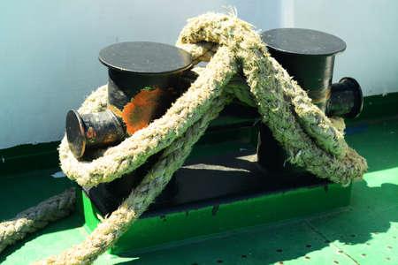 Ship, bollard Stock Photo